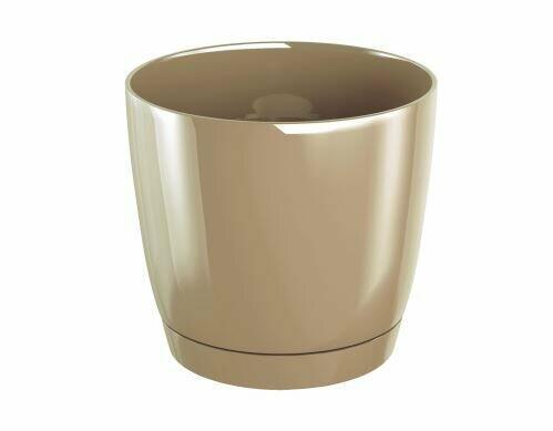 Květináč COUBI ROUND P s miskou káva s mlékem 15,5cm