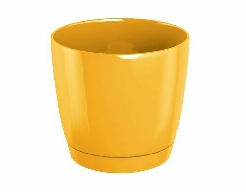Květináč COUBI ROUND P s miskou žlutý 13,5cm