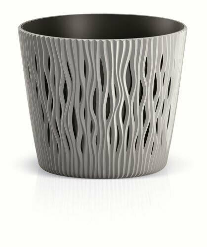 Květináč s vkladem SANDY ROUND šedý kámen 18,9 cm