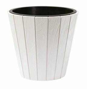 Květináč WOODE + vklad  bílý 34,8 cm