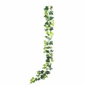 Umělá girlanda Břečťan bílo-zelená 190 cm