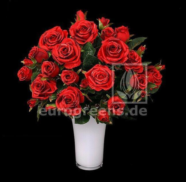Umělá kytice růží červená 50 cm