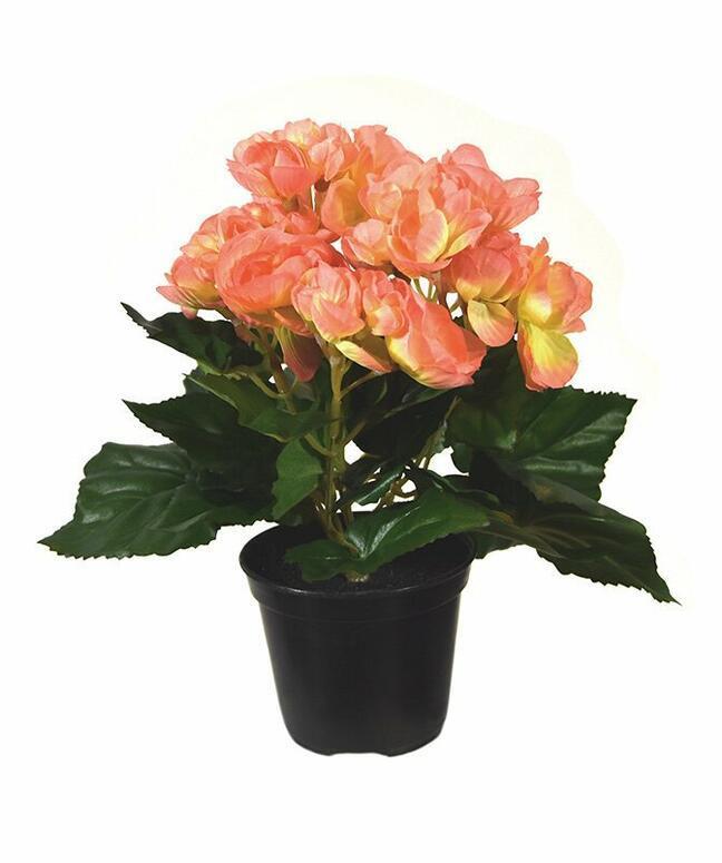 Umělá rostlina Begónie oranžová 20 cm