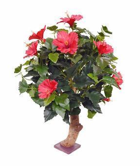 Umělá rostlina Ibišek červený 65 cm