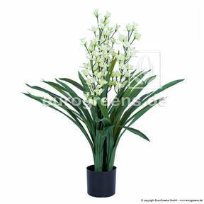 Umělá rostlina Orchidea Cymbidium bílá 95 cm