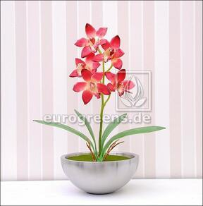 Umělá rostlina Orchidea Cymbidium vínovo-červená 50 cm