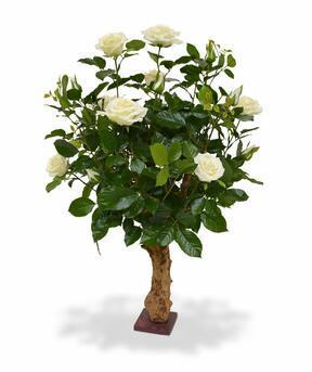 Umělá rostlina Růže krémová 75 cm