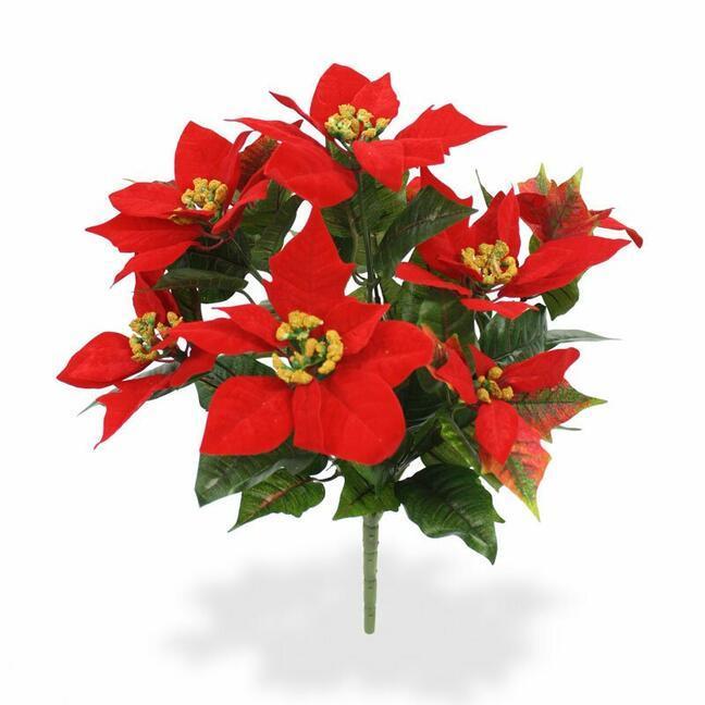 Umělá rostlina Vánoční ruže červená 40 cm