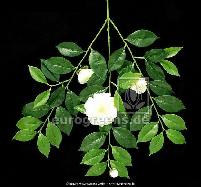 Umělá větev Gardénie s květy a pupeny 55 cm