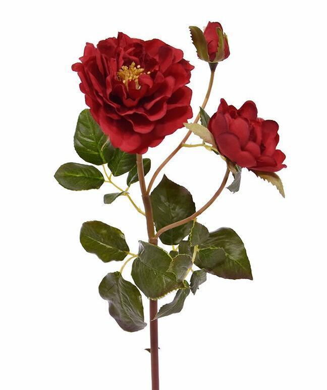 Umělá větev Růže červená 50 cm