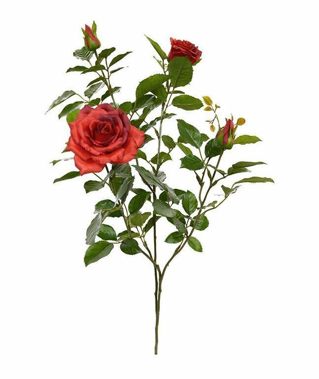 Umělá větev Růže červená 70 cm